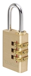 Sterling 30mm Brass Combination Padlock - 3 Dial